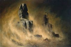 Karl Wilhelm Diefenbach - The Colossi of Memnon in a Sandstorm (1896)