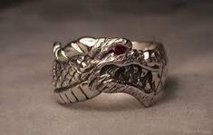 Dragon head ring with ruby eye - Sterling silver Dragon Ring, Dragon Head, Love Spell That Work, Dragon Jewelry, Magic Ring, Silver Dragon, Sterling Silver Necklaces, Artisan Jewelry, Unique Jewelry