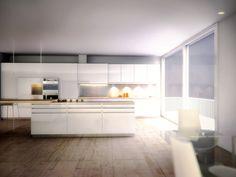 kitchen 3d render-interior design-vray-3ds max Interior Rendering, Interior Design, 3ds Max, Kitchen, Table, Furniture, Home Decor, Nest Design, Cooking