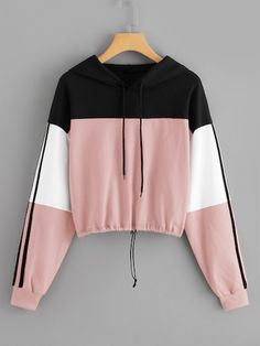 Diy t shirts 585186545308906314 - Drawstring Colorblock Hooded Sweatshirt Source by younglacey_ Girls Fashion Clothes, Teen Fashion Outfits, Girl Outfits, T Shirt Fashion, Men Fashion, Cute Comfy Outfits, Trendy Outfits, Jugend Mode Outfits, Stylish Hoodies