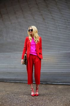 red blazer, pant, red pumos and pink tee