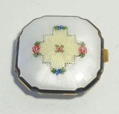 Vintage-La-Mode-Art-Deco-Guilloche-Enamel-Powder-Rouge-Compact-EXQUISITE