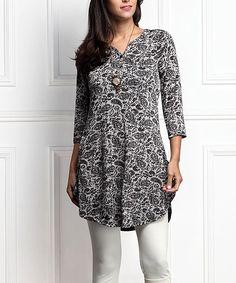 Gray Floral Button-Front Split Hem Tunic - Plus Too