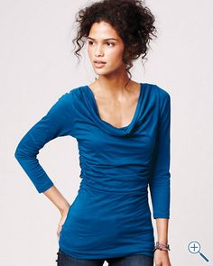 3/4-sleeve tee with understated cowl neck and gentle ruching at the waist