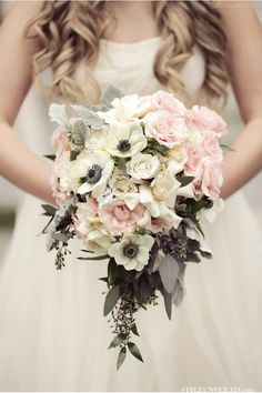 This bouquet is perfect for a winter wedding . the colors and shape are amazing! / Alante Photography / Aria Style / www. Wedding Blog, Wedding Styles, Our Wedding, Dream Wedding, Wedding Beach, Floral Wedding, Rustic Wedding, Wedding Flowers, Vintage Wedding Bouquets
