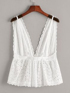 Eyelet Embroidery Deep V Neck Backless Top Backless Top, Diy Clothes, Fashion Clothes, Fashion Outfits, Fashion Tips, Casual Outfits, Summer Outfits, Cute Outfits, Trash To Couture