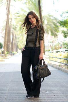 Striped tee + wide-leg trousers + suspenders