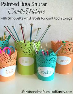 DIY Painted Ikea Skurar Candle Holders with Silhouette Vinyl Letters for Craft Tool Storage