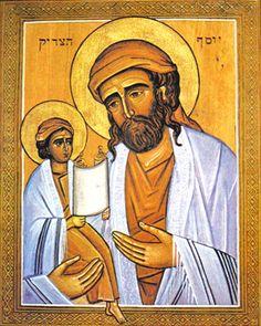 Hebraic Icon of St Joseph and the Child Jesus St Joes, Images Of Christ, Beatitudes, Mary Magdalene, Byzantine Art, John The Baptist, Holy Family, Roman Catholic, Saint Joseph