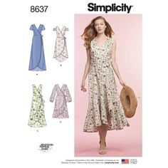WRAP DRESS Sewing Pattern by Simplicity 8637 From vacation to casual day, score the perfect dress with these beautiful real wrap dresses. Featuring romantic ruffle options and sleeve variations, create a dress that's perfect for you. Sizes or Pattern Simplicity Sewing Patterns, Dress Sewing Patterns, Vintage Sewing Patterns, Apron Patterns, Wrap Dress Patterns, Skirt Sewing, Skirt Patterns, Coat Patterns, Pattern Dress