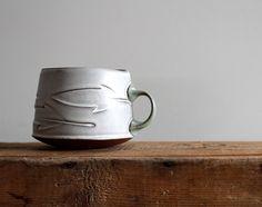 Mugs — Sarah Pike Pottery Stoneware Mugs, Ceramic Cups, Pottery Tools, Pottery Ideas, Ceramic Design, Mold Making, Handmade Pottery, Mug Cup, Hand Carved