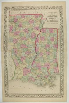 Antique Louisiana Map Vintage Mississippi Map Arkansas Original Old 1869 Mitchell Gulf Coast Southern State Gifts Under 100 Gift for Home by OldMapsandPrints