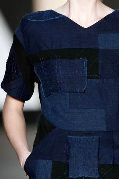 Patchwork dress | Indigo blue and black | Stitch detail | Traditional Japanese boro repair goes sartorial at Jen Kao #NYFW