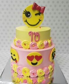 Emoji cake - Cake by Pastry Bag Cake Co But in blue for my son with different funny emoji