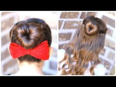 Learn how to create this adorable #LoveBun hairstyle for #ValentinesDay via this short video tutorial! {Lots of photos included for 2 looks of this style!} #HeartHairstyles