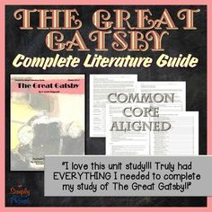 This Literature Guide for The Great Gatsby contains 123 pages of student coursework, quizzes, tests, and teacher guides aligned with tenth through twelfth grade English / Language Arts content standards.