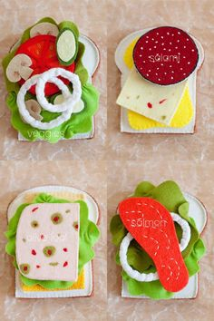 Felt Sandwich Set - Wool Blend - Pretend Play Food by LeeAnn Scarr Pretend Food, Pretend Play, Food Crafts, Diy Crafts, Diy For Kids, Crafts For Kids, Felt Food Patterns, Felt Play Food, Fake Food