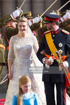 Princess Stephanie of Luxembourg and Prince Guillaume of Luxembourg emerge from the Cathedral following the wedding ceremony of Prince Guillaume of Luxembourg and Princess Stephanie of Luxembourg at the Cathedral of our Lady of Luxembourg, in Luxembourg. (Photo by Stephane Cardinale/Corbis via Getty Images)