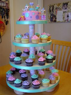 Littlest Pet Shop Cupcake Tower by Cupcakes Little Pet Shop, Little Pets, Lps Cakes, Cupcake Cakes, Cupcake Toppers, 9th Birthday Parties, Diy Birthday, Birthday Ideas, Colorful Cakes