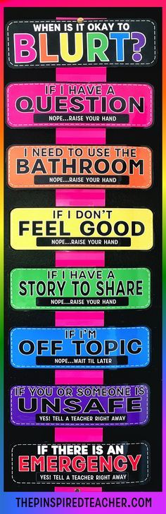 9 Guaranteed Ways to Stop Students from Blurting Out The Blurt Chart - Help set clear expectations for your classroom to maximize positive behavior and reduce blurting out and classroom interruptions. By The Pinspired Teacher Classroom Behavior Management, Classroom Rules, Behaviour Management, Classroom Setting, Classroom Organization, Classroom Ideas, Future Classroom, Behavior Plans, Classroom Procedures