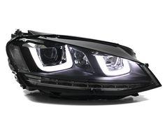 Bi-Xenon Black Trim Projector Headlights With LED UU DRL & Turn Signals for MK7 Golf & GTI, Parts4Euro.com: