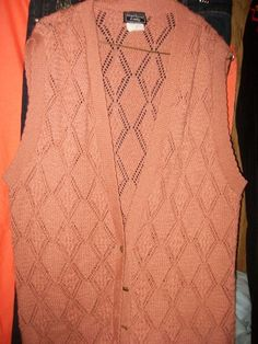 M-L-XL  Southern Lady Knitted Peach Long Vest Chest 26 L33 #SouthernLady