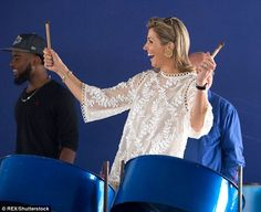 Queen Maxima showcased her musical talents as she took part in a steel pan workshop shelters at the Festival Center, Sint Maarten