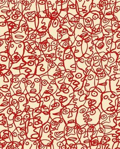 Jean Dubuffet (French, 1901-1985) - Untitled (Abstraction with Red Faces), 1980