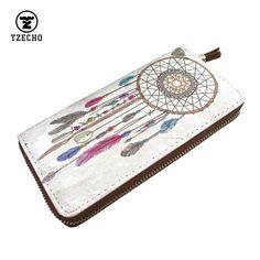 패션 지퍼 Arround를 여자 지갑 가죽 PU 인쇄 꿈 포수 긴 여성 돈 지갑 동전 포켓 카드 홀더 클러치 가방
