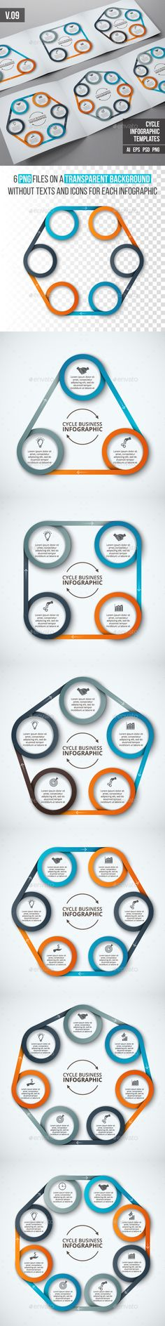 Vector elements for infographic. Template for cycle diagram, graph, presentation and chart. Business concept with 3, 4, 5, 6, 7 and 8 options, parts, steps or processes. Data visualization.