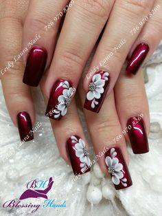Flower Nail Art Designs Gallery Lovely Fascinating Floral Nail Designs Ideas for Spring and Fancy Nails, Trendy Nails, Cute Nails, Stylish Nails, Classy Nails, Fingernail Designs, Cool Nail Designs, Flower Nail Designs, 3d Nail Art