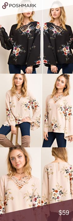 💁S-L Floral print A line strappy neck top Gorgeous floral print a-line Blouse with strappy neck detail, keyhole on back with button closure. Lightweight woven, 95/5 Polyester/Spandex. Small-Large runs true to size. Black is in stock, taupe is arriving soon! No trades, no offers, limited quantities. Tops Blouses