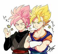 Super Saiyan Rośe Goku Black and Super Saiyan Vegito - I like the artstyle Dragon Ball Z, Dragon Z, Dragon Ball Image, Black Goku, Zamasu Black, Chibi, Dbz Characters, Anime Kawaii, Anime Comics