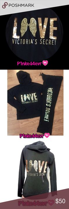"""VS Black Sweatsuit Gold Sequin Wings XS/S VS Black Sweatsuit Gold Sequin Wings XS/S Black Full Zip Hoodie with gold sequined """"Love Victoria's Secret"""" on the back paired with matching black sweats with matching sequin logo. Both are in great condition with no rips, stains, or tears. The only things to mention are some minimal wear to the foil lettering very, very minimal overall fading. Would fit XS or small comfortably. ❌SELECTIVE TRADES FOR OTHER VS PINK WITH ESTABLISHED TRADERS ONLY- SEE…"""