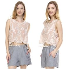 SUMMER SALESemi sheer lace top Taupe lace top with tasseled hem, semi sheer. Available in S, M, L. Tops