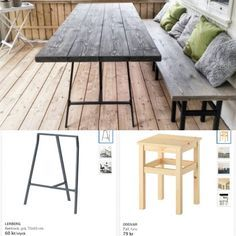 Kom ju på att jag hade fått frågor om hur vi gjorde utemöblerna... 🙈 Lånade bilder från Ikea för att visa vad vi använde, två benbockar…