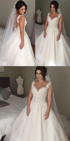 e2be19f329f8 V-veck Ball Gown Wedding Dress 2018 New Bridal Dresses Vestidos de Novia  BDS0586