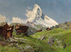Edward Theodore Compton (1.849 a 1921).  Vista del Cervino.  Óleo sobre lienzo, 60 x 80 cm.