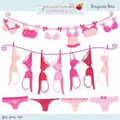 Lingerie Line Cute Digital Clipart - Commercial Use OK - Bras on Clothesline, Breast Cancer Awareness Graphics on Etsy, $5.00