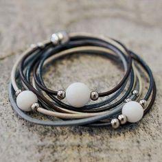 "Lederarmband ""Trio"" Swarovski, Bracelets, Leather, Jewelry, Crystals, Beads, Jewlery, Bangles, Jewels"