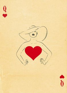 Graphic Design Ideas - Semi-Transformation Playing Cards by Patrik Svensson: The Queen of Hearts Paper Journal, Playing Cards Art, Playing Card Design, Vintage Playing Cards, Art Carte, Illustration Mode, Girl Illustrations, Love Heart Illustration, Arte Pop