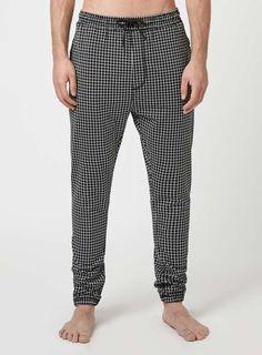 Black Grid Check Print Loungewear Joggers