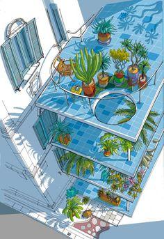 Carlo Stanga illustratore: interior design