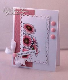 Today's Flourishes Friday Focus is on a gorgeous set, Gerber Daisies. Stacy Morgan created this stunning beautiful card.  For her card she stamped her Gerber Daisies on the beautiful Romantic rectangles from Spellbinders. These awesome Candi iced gems make for a great accent for a simple card. Be sure to check out Flourishes for products and her blog for more details.