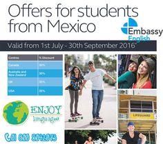 #Promocióndeldía #EmbassyEnglish quiere que formes parte de su gran familia!! Es por eso que tiene increíbles promociones para ti en todos sus destinos. Para más información solicita información sin compromiso: 01 800 5042073 #EnjoyLanguages  #Travel #Explore #EstudiaenelExtranjero