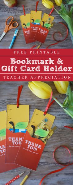 Free Printable Teacher Gift! It's a bookmark that holds a gift card in a secret pocket!