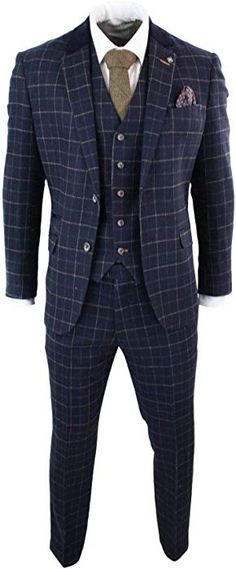 912279c69e28 ... Navy Blue 3 Piece Herringbone Check Suit Vintage Retro Peaky Blinders  Tweed - 48UK/US & 58EU-Jacket, 42-Pants: House of Cavani: Amazon.co.uk:  Clothing