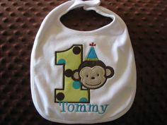 Mod Monkey First Birthday Bib by Bethysboutique on Etsy, $15.00