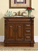 This single sink vanity with a Baltic brown granite top will surely give any bathroom the attention and appeal that it deserves. Th magnificent empire style of this vanity with carvings along the legs and edges will be a focal point of your bathroom. Single Sink Bathroom Vanity, Vanity Sink, Single Vanities, Mirror Bathroom, Bathroom Cabinets, Master Bathroom, Kitchen Cabinets, Small Bathroom Vanities, Bathroom Ideas
