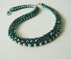 Sea snake (Beading Queen) Tags: blue original brown glass bronze necklace nice handmade turquoise teal jewelry gift bead earrings brass beading beaded beadwoven beadingqueen
